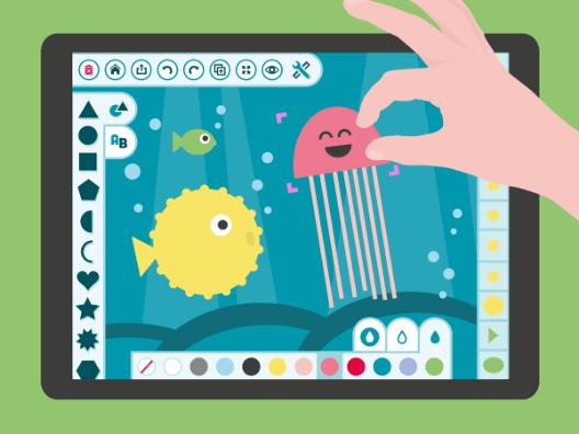 app Estudio de Arte Digitalwerkstatt para que los niños dibujen con figuras geométricas